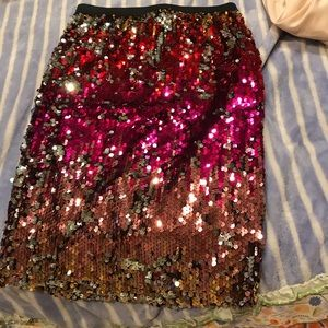 Red / Pink Sequin Skirt